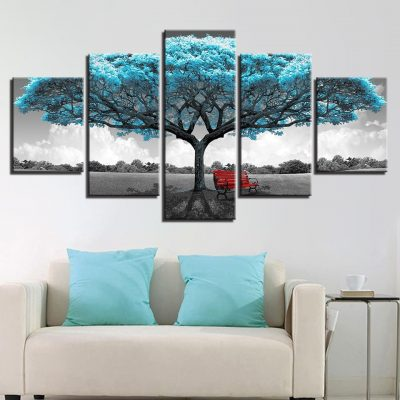 tableau cadre arbre de vie bleu