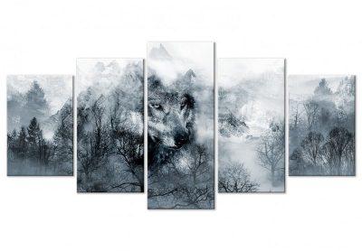tableau loup noir et blanc tableau cadre animaux