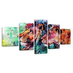 tableau cadre lion multicolore coloré