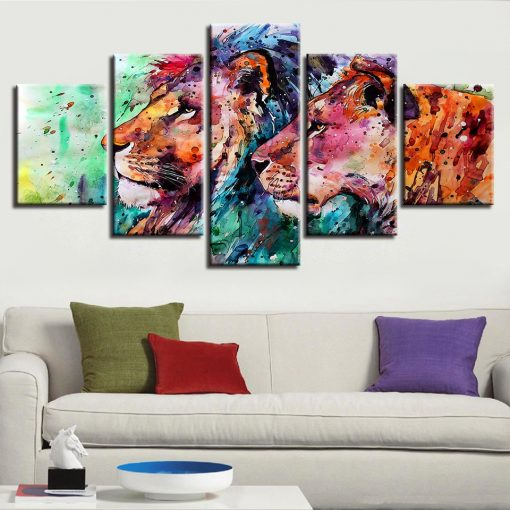 tableau cadre animaux lion coloré