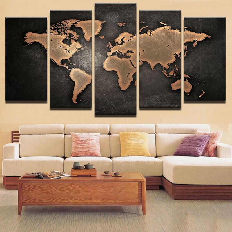 tableau carte du monde morderne deco murale