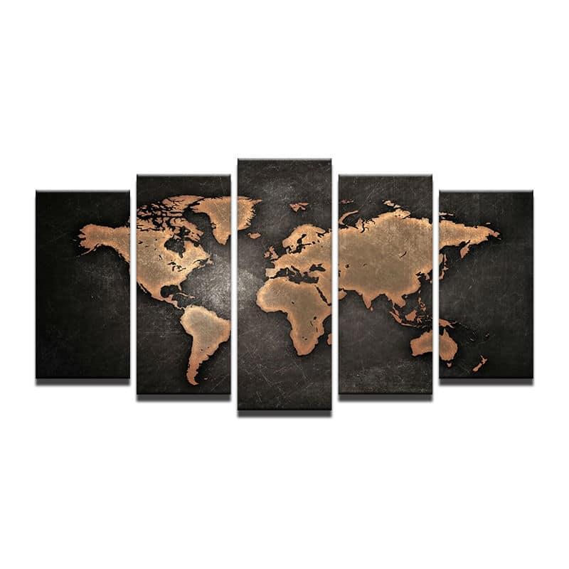 tableau sur toile carte du monde