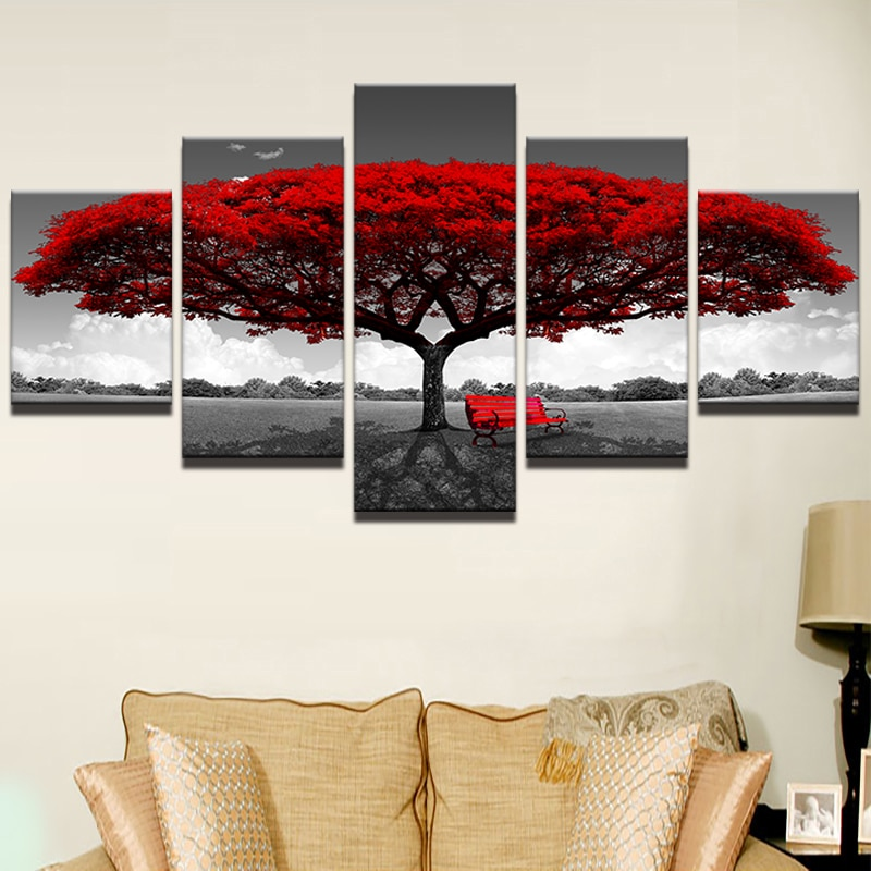 decoration arbre rouge