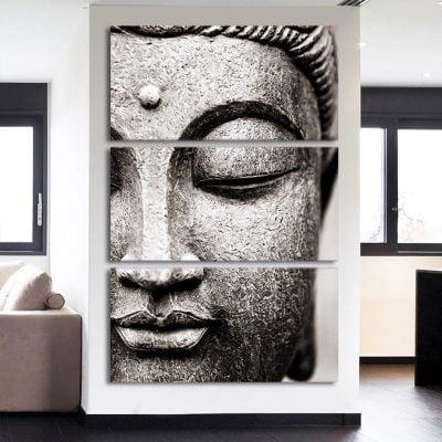 tableau bouddha noir et blanc