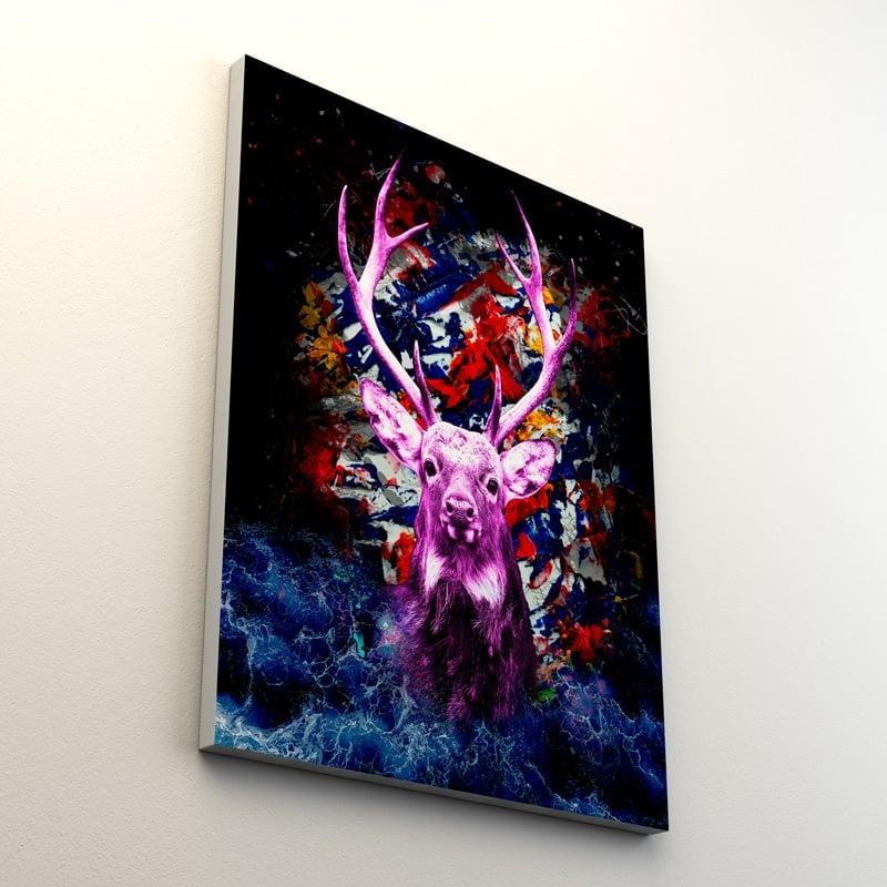 tableau cerf pop art coloré multicolore