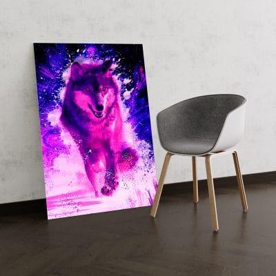 tableau loup rose