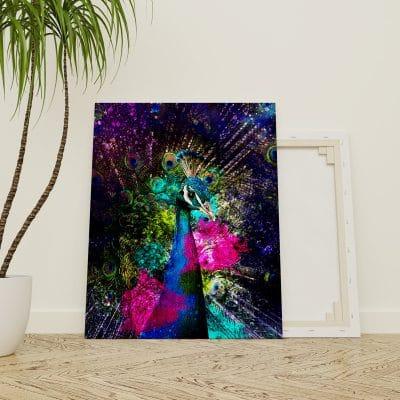 tableau paon bleu coloré animaux pop art