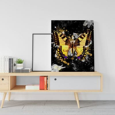 tableau papillon noir doré pop art coloré