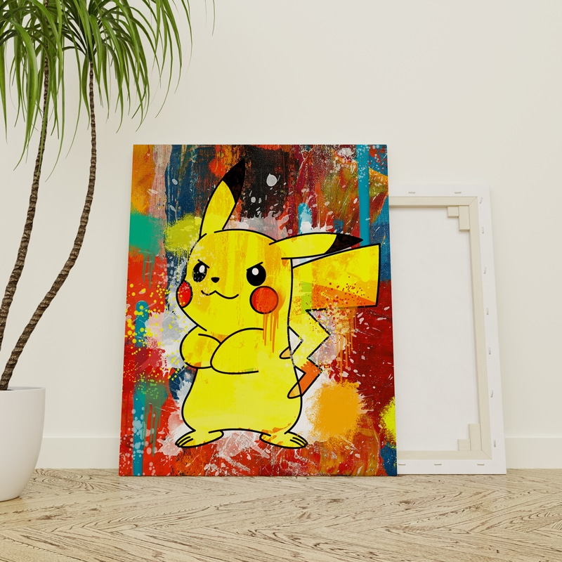 tableau pikachu pokemon decoration geek pokemon pikachu toile poster pikachu deco pikachu pokemon