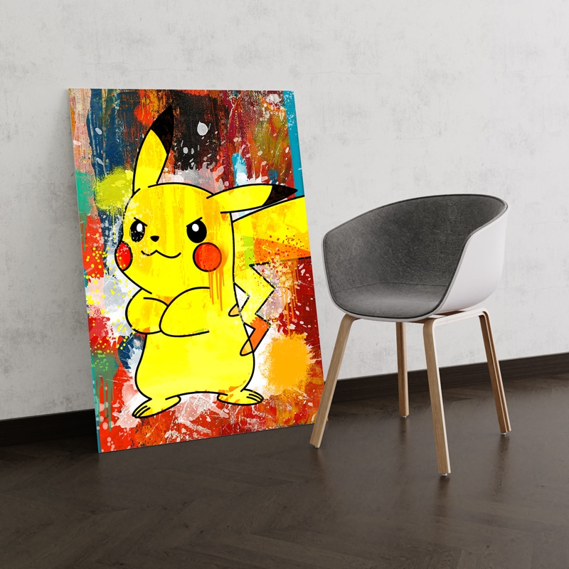 tableau pikachu pokemon decoration geek pokemon pikachu toile poster pikachu deco pikachu pokemon 02