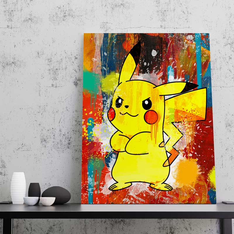 tableau pikachu pokemon decoration geek pokemon pikachu toile poster pikachu deco pikachu pokemon 04
