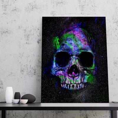 tableau crane tete de mort tableau biker decoration biker tete de mort poster crane toile tete de mort decoration geek 03