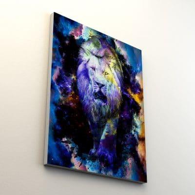 tableau toile lion couleur multicolore pop art