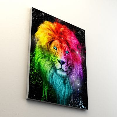 tableau lion pop art coloré
