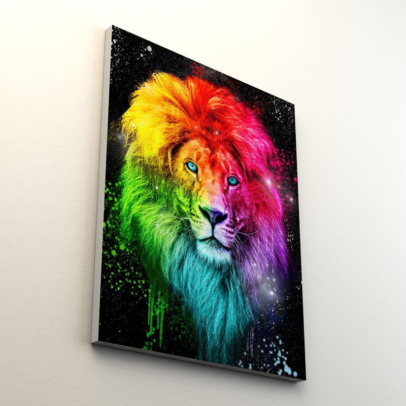 tableau lion pop art coloré