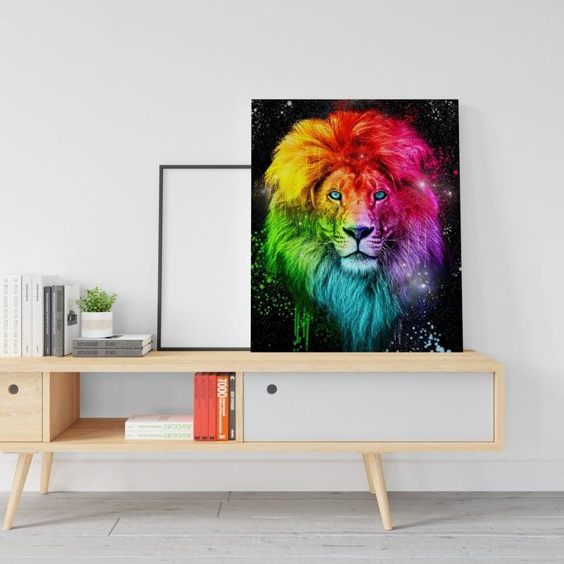 tableau poster lion pop art coloré