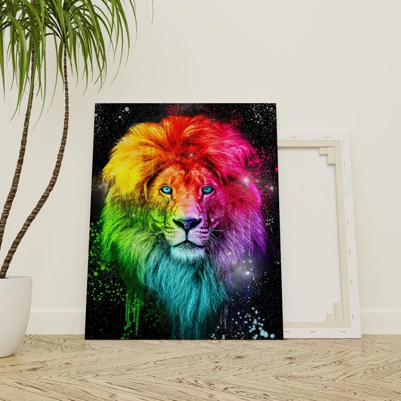 tableau toile poster animaux pop art coloré lion
