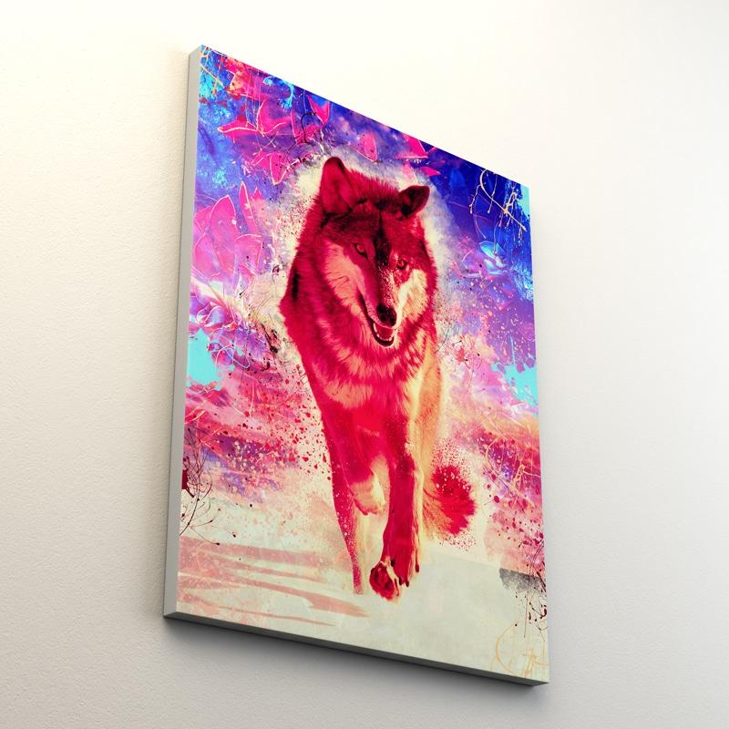 tableau loup pop art coloré multicore