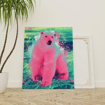 tableau ours polaire coloré pop art