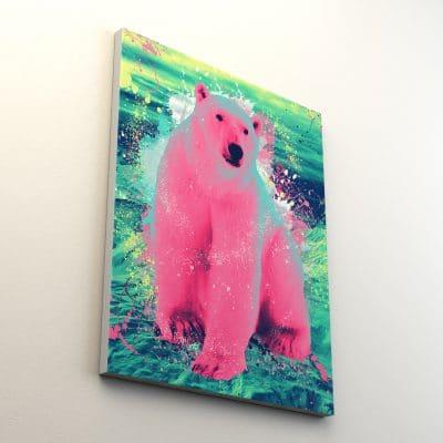 tableau ours polaire toile animaux pop art coloré