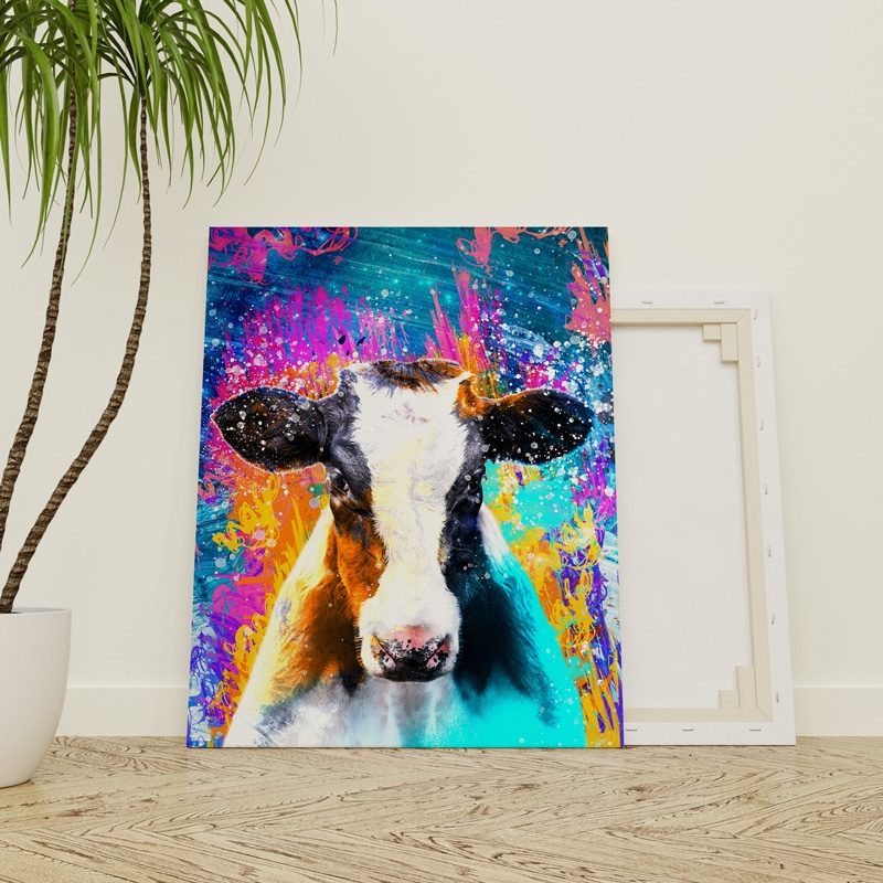 Une aux vache au pré art B /& w toile déco art pression