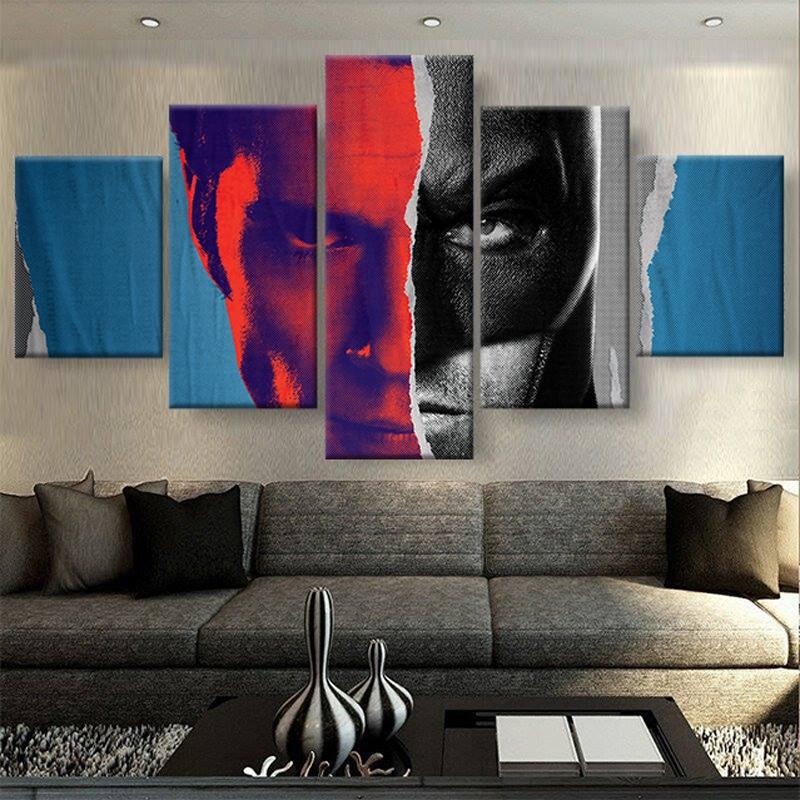 tableau superman vs batman toile deco poster