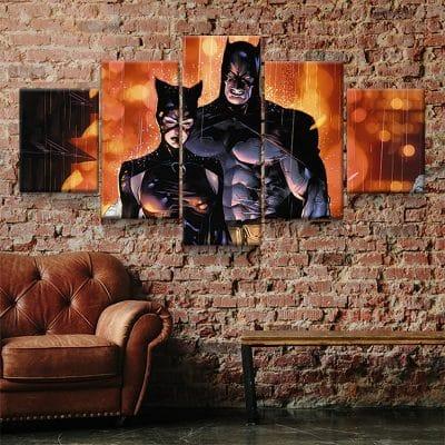 tableau batman et catwoman decoration murale toile poster