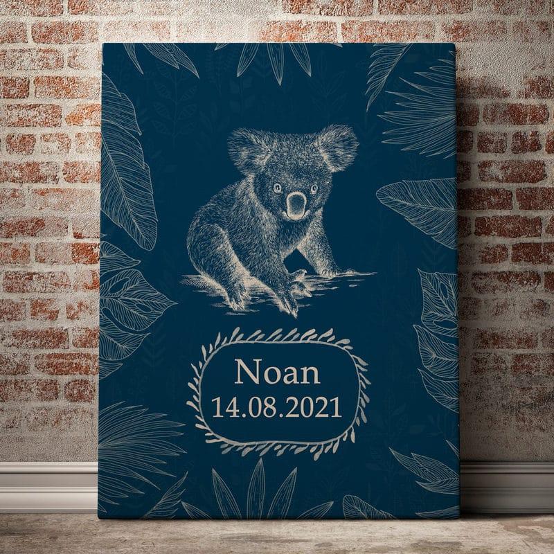 Pourquoi offrir un cadeau de naissance personnalisé ? 1 tableau bebe prenom personnalisable koala bleu 10